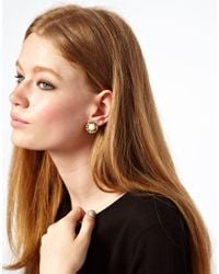 ASOS - Metallic Asos Vintage Look Pearl Parisnew York Earrings - Lyst