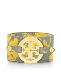 Tory Burch - Yellow Printed Logo Wide Double Snap Cuff - Lyst