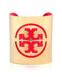 Tory Burch | Red Patent Leather Stencil Logo Cuff | Lyst