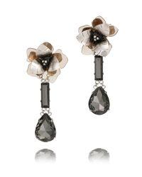 Tory Burch | Metallic Floral Tear Drop Earring | Lyst