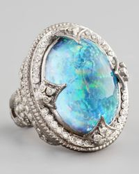 Armenta | Metallic New World Large Oval Opal Blue Topaz Ring | Lyst