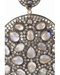 Artisan - Metallic Sterling Silver Moonstone and Diamond Earrings - Lyst