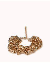 Forever 21 - Metallic Braided Curb Chain Bracelet - Lyst