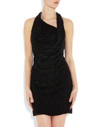 Helmut Lang | Black Leather Sequin-embellished Silk Dress | Lyst