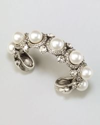 Lanvin - Pearl Crystal Cuff White - Lyst