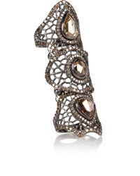 Loree Rodkin - Gray Spiderweb 18karat Rhodium White Gold Diamond Bondage Ring - Lyst
