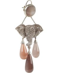 Lydia Courteille - Brown Mhadaratha 18karat Gold Diamond and Moonstone Earrings - Lyst