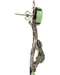 Lydia Courteille - Green Amazonia 18karat Blackened White Gold Multistone Earrings - Lyst