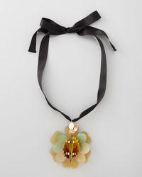 Marni - Metallic Horn Flower Pendant Necklace - Lyst