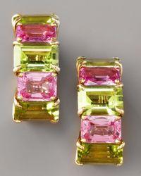 Paolo Costagli | Green Peridot & Pink Sapphire Huggie Earrings | Lyst