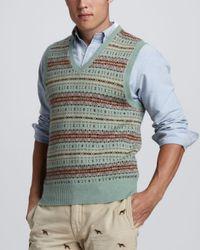 Polo Ralph Lauren - Green Fair Isle Sweater Vest for Men - Lyst