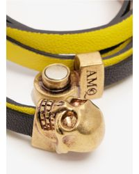 Alexander McQueen | Yellow Leather Wrap Bracelet | Lyst
