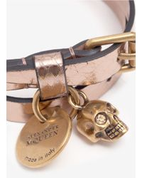 Alexander McQueen - Pink Metallic Skull-detail Wrap Bracelet - Lyst