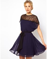ASOS | Blue Scallop Lace Panel Skater Dress | Lyst