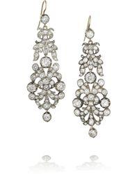 Olivia Collings - Metallic Silver Diamond Earrings - Lyst