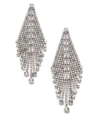 ABS By Allen Schwartz | Metallic Draped Rhinestone Earrings | Lyst