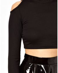 Glamorous - Black Roll Neck Crop Top with Cold Shoulder - Lyst