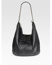 579bdc74d989 Lyst - Gucci Soho Leather Chain Hobo Bag in Black