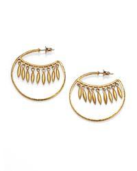 Gurhan | Metallic Wheat 24k Yellow Gold Wink Hoop Earrings/1.55 | Lyst