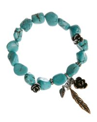 Lucky Brand - Blue Silver Tone Flower Turquoise Bracelet - Lyst