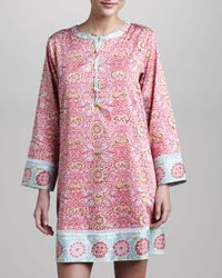 Oscar de la Renta - Pink Jewel Tapestry Short Caftan - Lyst