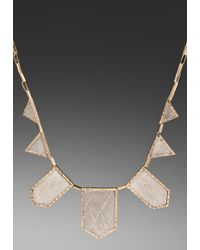 House of Harlow 1960 | Two Tone Engraved Five Station Necklace in Metallic Gold | Lyst