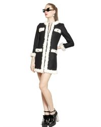 Boutique Moschino | Black Kid Shearling Wool Cloth Coat | Lyst