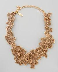 Oscar de la Renta - Metallic Antiqued Lace Bib Necklace - Lyst