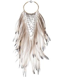 Clemmie Watson - Metallic Emu Feather Bib Necklace - Lyst