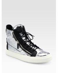 3f4bded02 Giuseppe Zanotti Crackle Foil Hightop Sneakers in Metallic for Men ...