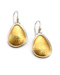 Gurhan | Metallic Elements 24k Yellow Gold & Sterling Silver Amorphous Drop Earrings | Lyst