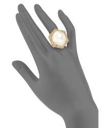 Mija - Metallic Mother-Of-Pearl & White Sapphire Hexagon Cocktail Ring - Lyst