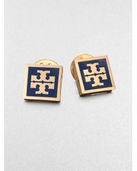 Tory Burch | Blue Enamel Square Logo Button Earrings | Lyst