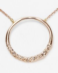 Alexis Bittar - Pink New Wave Rose Gold Pave Circle Pendant Necklace 16 - Lyst