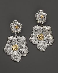 Buccellati | Metallic Blossom 1 Large and 1 Small Flower Pendant Earrings with Gold Accents | Lyst
