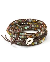 Chan Luu | Brown Semiprecious Stone-embellished Leather Wrap Bracelet | Lyst