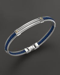 Charriol | Metallic Gentlemens Collection Stainless Steel Nautical Cable Bangle with Blue Leather 18k Yellow Gold for Men | Lyst
