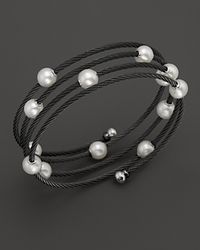 Charriol | Gray Classique Black Pvd Wrap Bangle with Pearls | Lyst