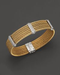 Charriol - Metallic Cable Bangle with Diamonds 05 Ct Tw - Lyst