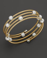 Charriol | White Classique Yellow Pvd Wrap Bangle with Pearls | Lyst