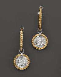 Charriol - Classique 18k White Gold and Yellow Stainless Steel Nautical Cable Earrings with Diamonds and White Sapphires - Lyst