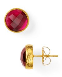 Coralia Leets - Red Round Stone Stud Earrings - Lyst