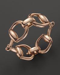 Gucci - Metallic 18k Rose Gold Horsebit Link Bracelet - Lyst