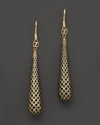 Gucci | 18k Yellow Gold Diamantissima Light Earrings with Black Enamel | Lyst