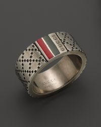 Gucci | Metallic Aged Sterling Silver and Enamel Diamantissima Motif 8mm Ring for Men | Lyst