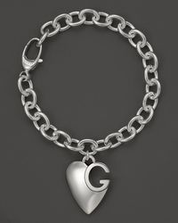 Gucci | Metallic Sterling Silver Lucky Charms Bracelet with Heart Charm | Lyst