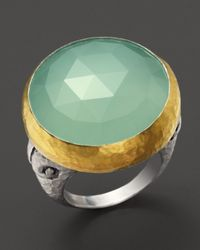 Gurhan - Metallic Sterling Silver 24k Gold and Aqua Chalcedony Noble Ring - Lyst