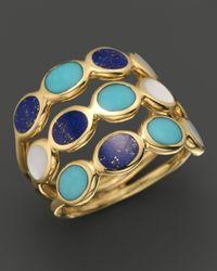 Ippolita | Metallic Ippolita 18k Gold Polished Rock Candy 3row Oval Stone Ring in Viareggio | Lyst