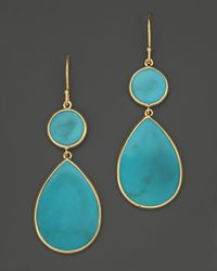 Ippolita - Metallic 18K Gold Rock Candy Teardrop Snowman Earrings In Turquoise - Lyst