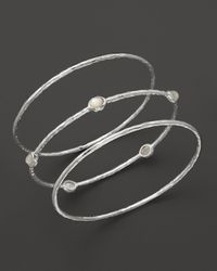 Ippolita | Metallic Sterling Silver Rock Candy 5-stone Bangle In Clear Quartz | Lyst
